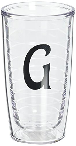 (Tervis Tumbler with Decorative Black Twill Letter-G, 16-Ounce)