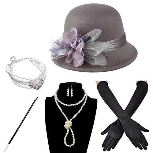 Derby Hat with 1920S Outfit Set Tea Flapper Party for Girls and Women (Grey) ()
