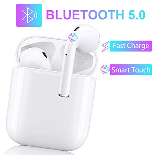 Wireless Earbuds Bluetooth 5.0 Headsets 3D Stereo Headphones with Fast Charging Case,Auto Pairing in-Ear Ear Buds IPX5 Waterproof Mini Sports Earphones for iPhone/Apple Airpods Bluetooth Earbuds