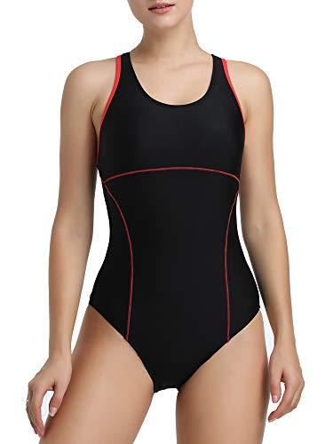 Joyaria Womens Athletic Racerback One Piece Swimsuits Traning Racing Bathing Suit Sport Swimwear (Black, XL)