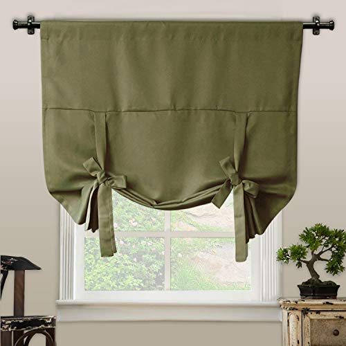 Rose Home Fashion RHF Tie Up Shade for Small Window - Rod Pocket - Adjustable Thermal Insulated Blackout Tie up Curtains 42W by 63L Inches-Olive