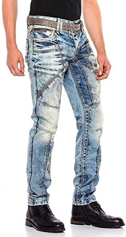 Cipo & Baxx Męskie Jeans Hose Denim Straight Regular Fit Design Hose Pants Jeanshose Dicke Naht Blau W30 L34: Odzież