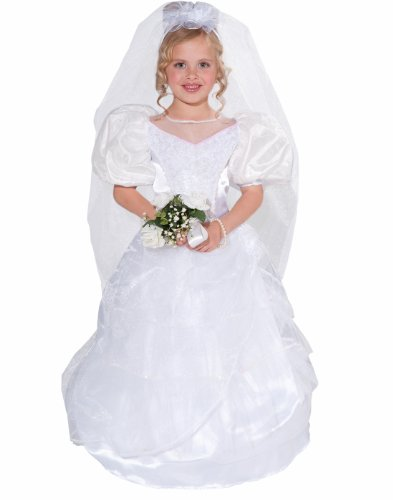 Forum Novelties Designer Collection Deluxe Costume Wedding Dress and Veil, Toddler (Patrick Star Halloween Costume Toddler)