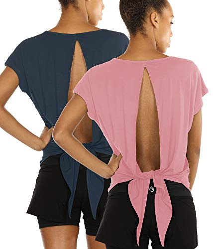 icyzone Open Back Workout Tops for Women - Athletic Activewear T-Shirts Exercise Yoga Shirts(Pack of 2) (S, Harbor Blue/Cameo Pink)