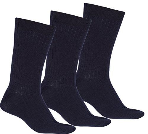 (Sakkas Men's Cotton Blend Ribbed Dress Socks, 10-13 - Navy 3-pack)