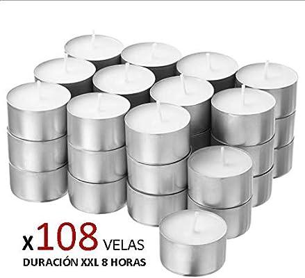 Cia&Co Pack 108 Velas de té XXL Larga Duración 8 Horas. Vela ...