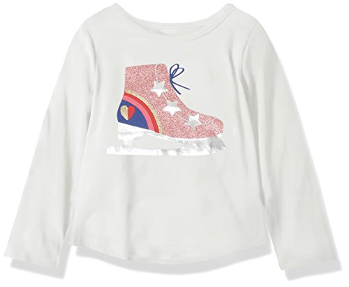 Crazy 8 Girls' Toddler Long Sleeve Graphic Tee, White ice Skate, - Clothing Skate Girl