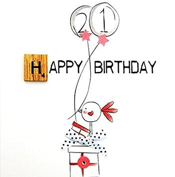 21st Birthday Bexyboo Scrabbley Neon Card Handmade Greeting Cards