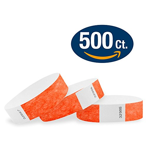 "WristCo Coral Red 3/4"" Tyvek Wristbands - 500 Pack Paper Wristbands For Events"