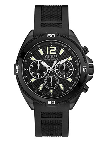 GUESS Men's Quartz Stainless Steel and Silicone Watch, Color:Black (Model: U1168G2)