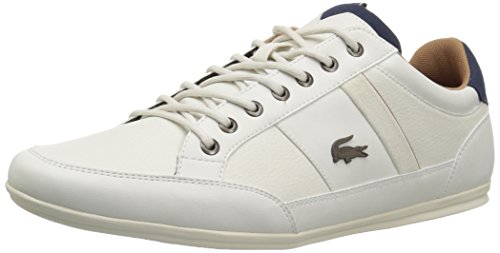 Lacoste Men's Chaymon Sneakers,Off White/Nvy Synthetic,8 M US (Lacoste White Sneakers)