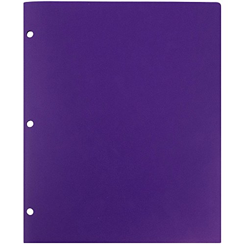 JAM Paper Heavy Duty 2 Pocket 3 Hole Punched Plastic Folder - Purple - 6 Folders per Pack