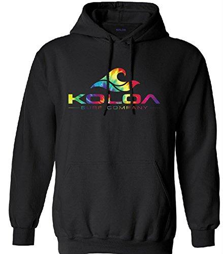 Koloa Surf Classic Wave Logo Surf Hoodie, Hooded Sweatshirt-3XL-Black/rainbow ()