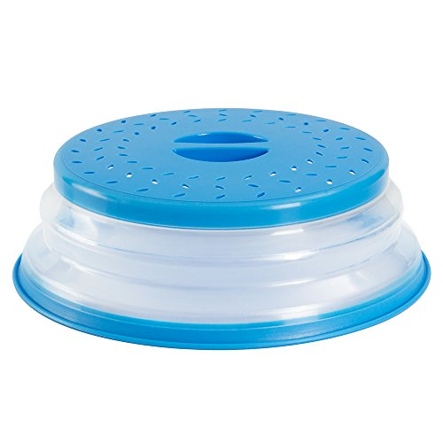 OUCHAN Collapsible Microwave Plate Cover Colander Strainer for Fruit Vegetables,BAP Free and Non-toxic (Blue)