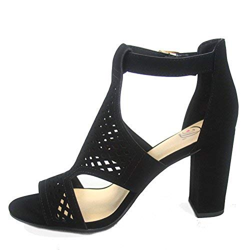 Delicious Inflow-s Women's Fashion Laser Cut Out Open Toe Buckle Chunky Heels Sandal Shoes (7 B(M) US, Black)