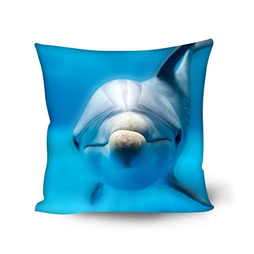 Beauty Collector Dolphin Print Lounge Sofa Throw Pillow Case Living Room Patio Soft Personalized Accent Style Couch Cushion Cover Lumbar Back Pillow Cover 18 X 18 Inch (Dolphin Sofa)