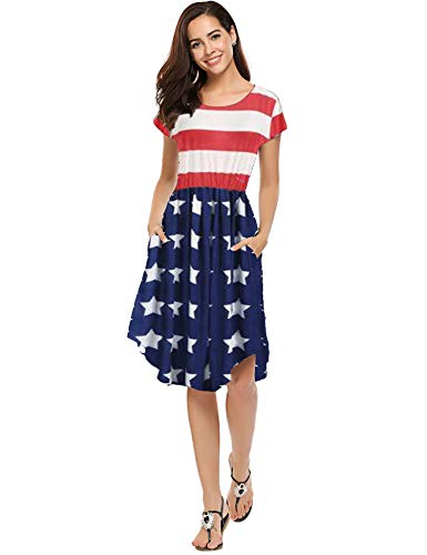 Patriotic Dress Womens (Women's American Flag Dress - Patriotic USA Red White and Blue Dress Bold)