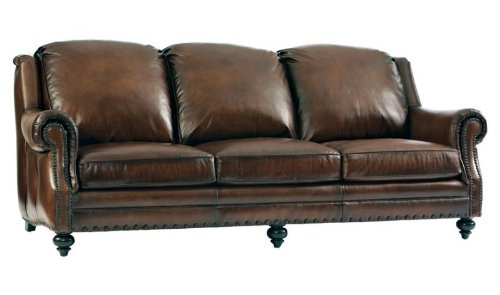 Bergamo 100% Full Aniline Top Grain Leather Sofa In Rubbed Saddle