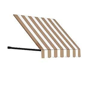 "Awntech sant43–16lw 16'Santa Fe trenzado cuerda brazo ventana toldo, 56""por 36"", Lino/blanco rayas"