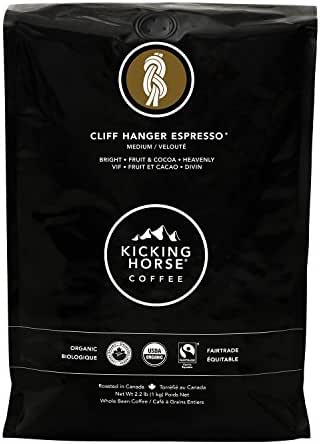 Kicking Horse Coffee, Cliff Hanger Espresso, Medium Roast, Whole Bean, 2.2 Pound - Certified Organic, Fairtrade, Kosher Coffee