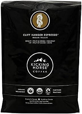 Kicking Horse Coffee, Cliff Hanger Espresso, Medium Roast, Whole Bean, 2.2 lb - Certified Organic, Fairtrade, Kosher Coffee