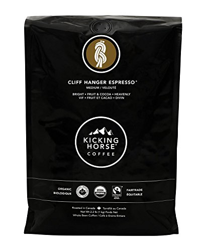 - Kicking Horse Coffee, Cliff Hanger Espresso, Medium Roast, Whole Bean, 2.2 lb - Certified Organic, Fairtrade, Kosher Coffee