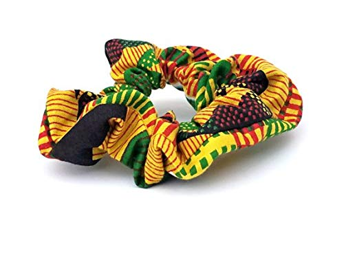 Kente Design - KENTE Design Scrunchies, Pack of 2, African Fashion, Vintage style, Fun Geometric design, Fall/Winter Fashion, Gift for her