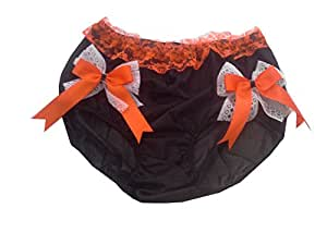 HDHW24 BLACK Halloween Handmade Bow Underwear Nylon Women Ladies briefs Lace L-3XL (L)