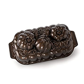 Nordic Ware 88548 Botanical Pumpkin Loaf Pan, Bronze