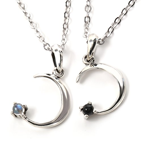 VELVY Silver 925 Moonstone Crescent Couple Pair Pendant Necklace Men's Women's (With Paper Box BOX) th304 by VELVY
