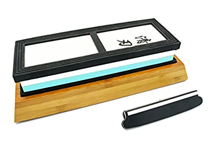 Whetstone – Waterstone Knife Sharpening Sharpener Stone by Kota Japan Diamond 2000 – 5000 Grit Misono Masamoto Sashimi Ultra-Sharp Quality BONUS Bamboo Base & Blade Guide – You really can put a razors edge on a good quality knife