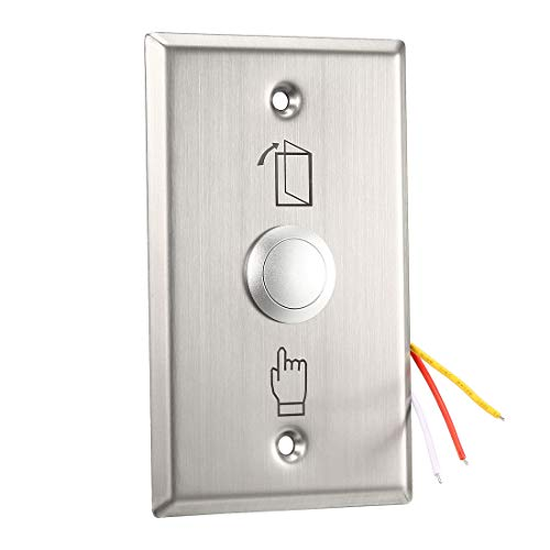uxcell Door Release Button Push to Exit Resettable NO/NC/COM Switch for Access Control Panel 115mmx70mm 36V 3A Stainless Steel Bell Stainless Steel Doorbell