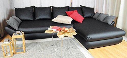 AVANTI TRENDSTORE - Sofa mit Schlaffunktion, graue Microfaser - ca. 205x89/85x100cm (Ottomane rechts)