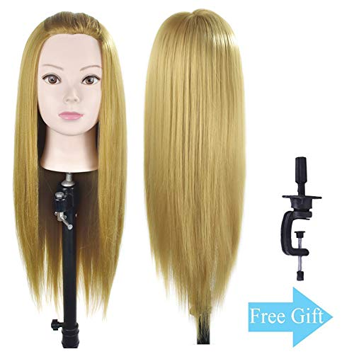 "Beauty : 28"" Mannequin Head Cosmetology Hair Styling Head Manikin Training Doll Head Synthetic Fiber Hair with Free Clamp"