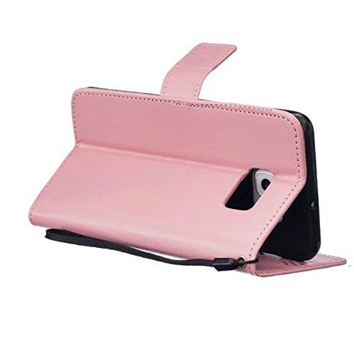 JIALUN-Personality teléfono shell Samsung S6 edge Plus funda, cubierta de la caja de cuero de alta calidad Premium PU Color sólido cubierta de la caja de soporte de la cartera grabadora del diente de  Pink