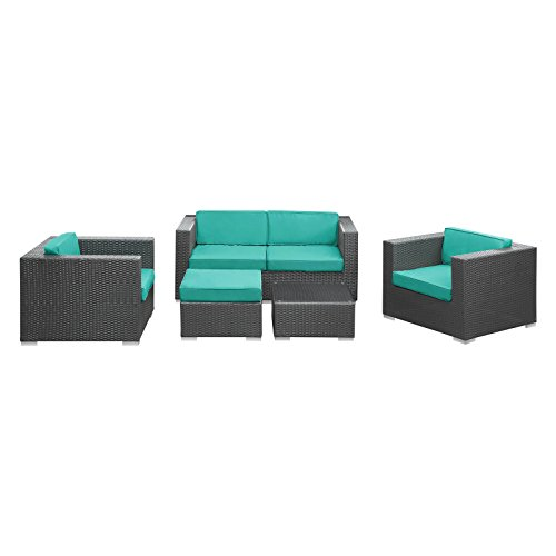 lexmod-malibu-outdoor-wicker-patio-5-piece-sofa-set-in-espresso-with-turquoise-cushions