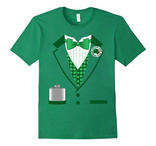[Men's Irish Gentleman Costume Funny St. Patrick's Day T-shirt XL Kelly Green] (St Patricks Funny Party Button)