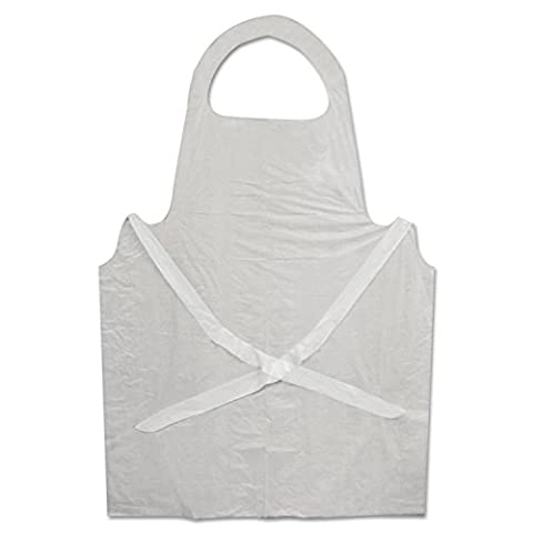Boardwalk 390 Disposable Apron, White, Poly, 28 x 45, 1.25 mil, One Size, Pack of 100 - Poly Disposable Aprons
