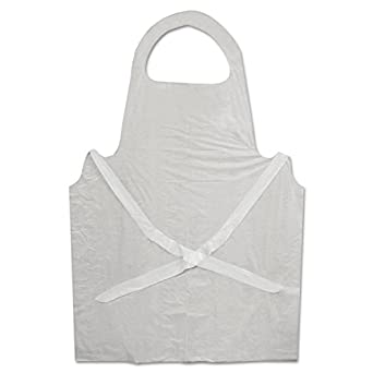 Boardwalk 390 Disposable Apron, White, Poly, 28 x 45, 1.25 mil, One Size, Pack of 100