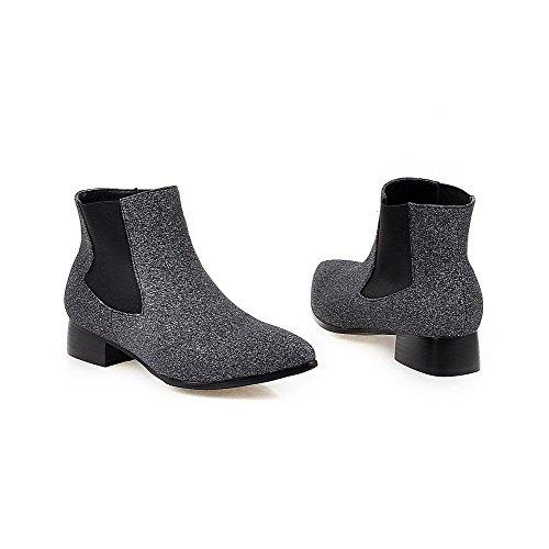 Soft on Material Pull top Boots Low Allhqfashion Heels Black Low Solid Women's tzqq4U