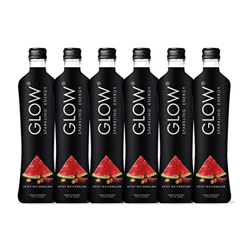 GLOW Beverages Premium Sparkling Infused Energy Drink - 6 Pack 12oz Glass - Spicy Watermelon - Vitamins & Antioxidants