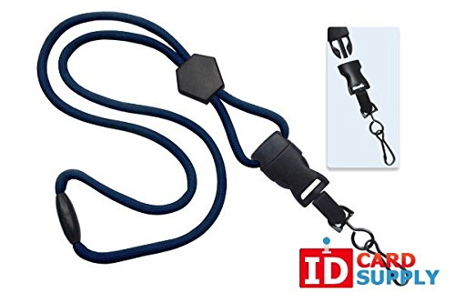 100 - Navy Blue Lanyards with Breakaway 1/4 (6mm) Strap and DTACH Swivel Hook ending [ 2135-4503 ] -