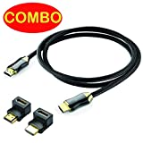Braided Ultra HD High Speed 2.0 HDMI Cable HDTV 2160P 4K 3D 3 Feet 90 degree 270 degree HDMI Connectors/Adapter