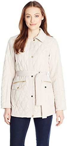 Jones New York Womens Quilted Jacket with Belt