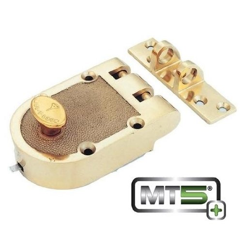 Mul-t-lock MT5+ Single Cylinder Jimmy Proof with Rim Cylinder - Bright Brass