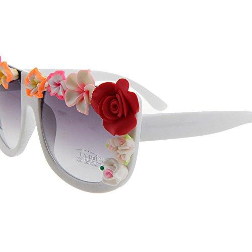 de Lunettes Designer la Handmade Vacances Nuances UV Summer carrée Lady Beach Style Fleur Lunettes nouveauté Forme Conduite Brillants de KOMEISHO Soleil Soleil Protection qRHwCx