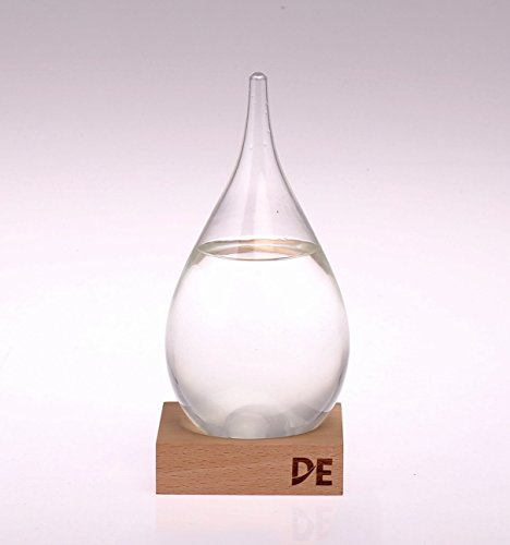 Deggy's Storm Glass Weather Predictor, Beautiful and Unique, Teardrop Shaped Barometer with Wooden Base, Desk Top, Conversational Piece (Weather Station For Boat)