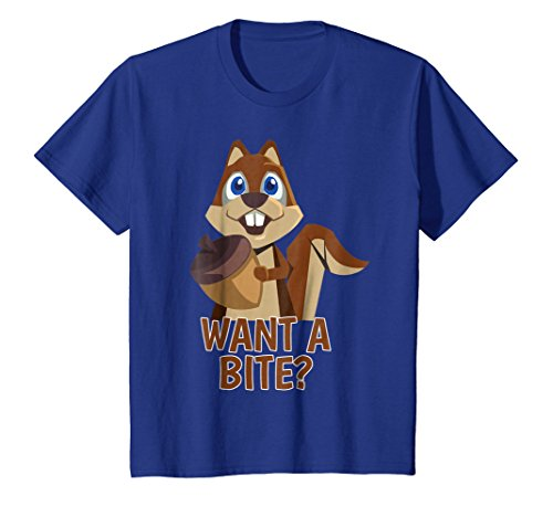 Kids Cute Squirrel Nut Adorable Chipmunk Want A Bite Tail T Shirt 4 Royal Blue