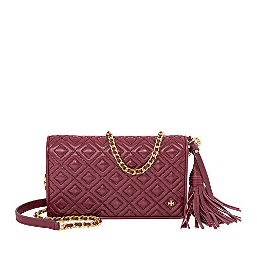 Tory Burch Women's Fleming Flat Wallet Crossbody Leather Cross Body Bag - Imperial ()