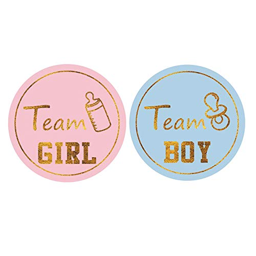 MUMULULU 80PCS Gold Gender Reveal Stickers Team boy and Team Girl Baby Shower Sticker Labels Round Circle Labels -
